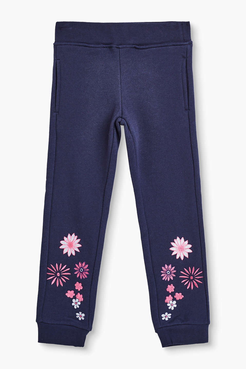 Pure cotton tracksuit bottoms decorated with flowers