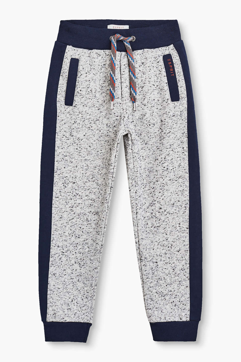 Comfortable, soft tracksuit bottoms with garment-washed effects and a wide, colour-contrasting drawstring tie