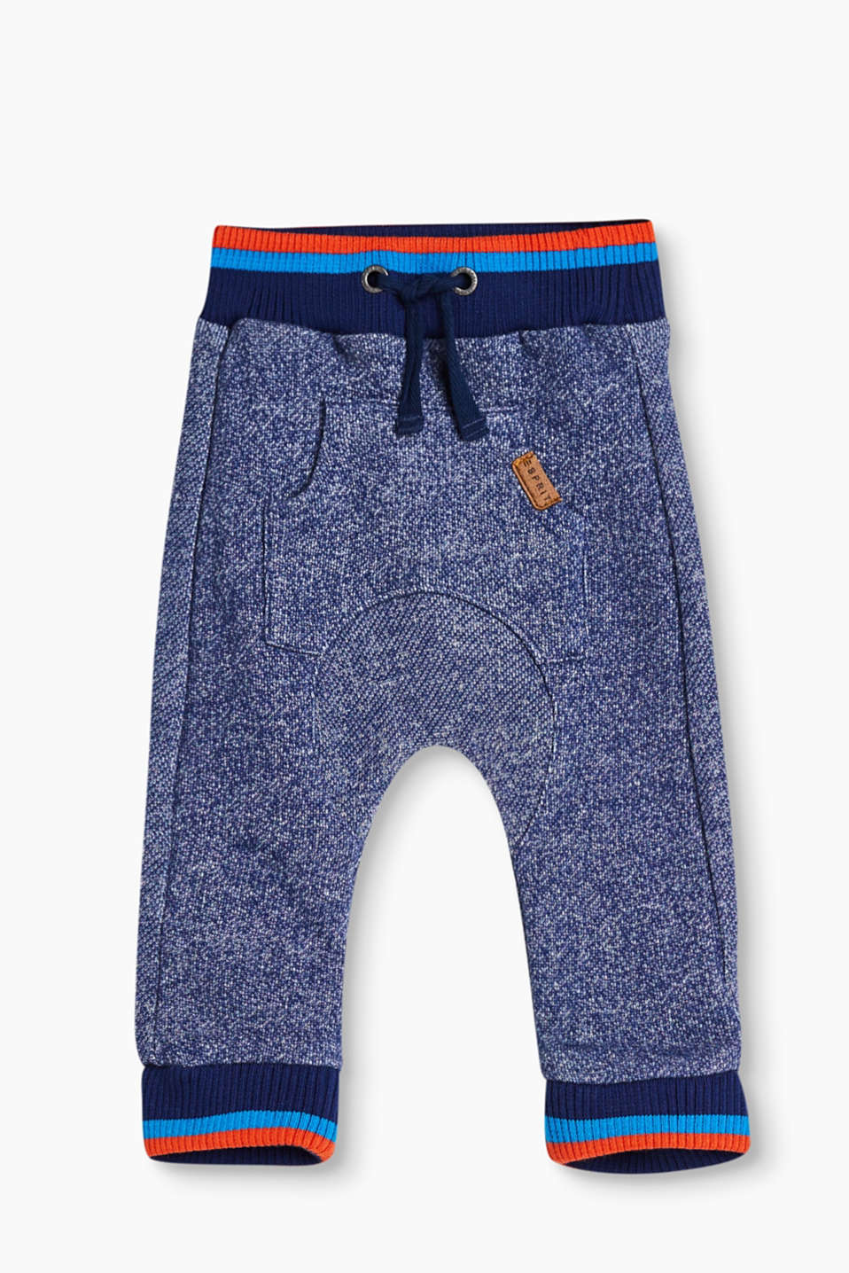 Melange tracksuit bottoms with a kangaroo pocket and striped, ribbed cuffs and waistband, 100% cotton