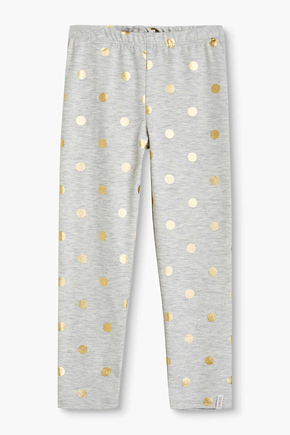 With shimmering, metallic polka dots: leggings with an elasticated waistband, stretch cotton