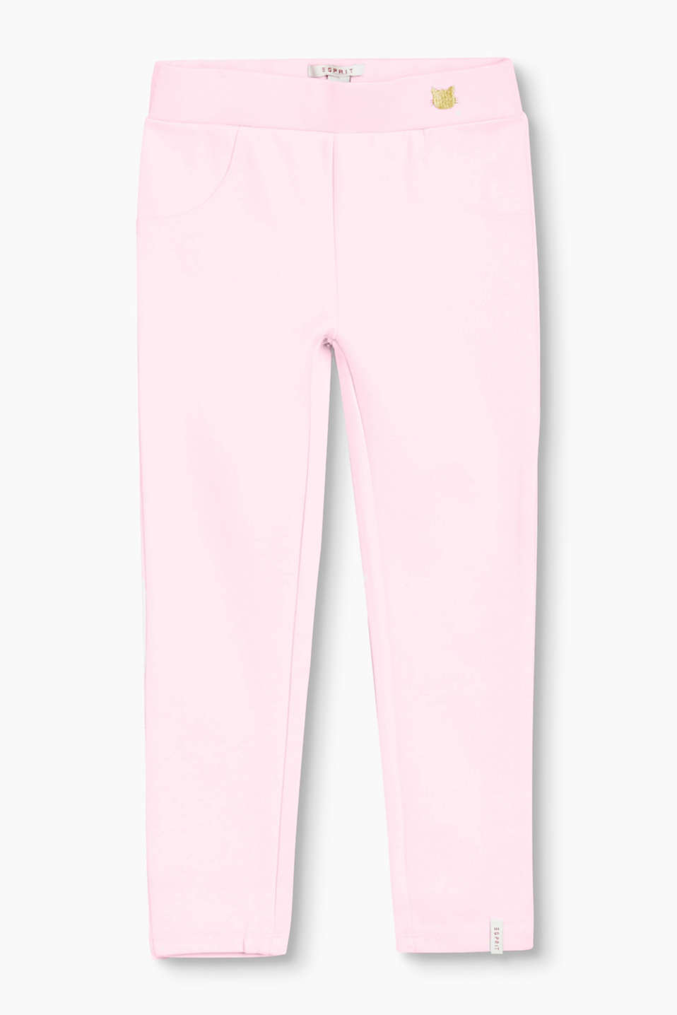 Leggings with added stretch for comfort, with a wide waistband and cat stitching