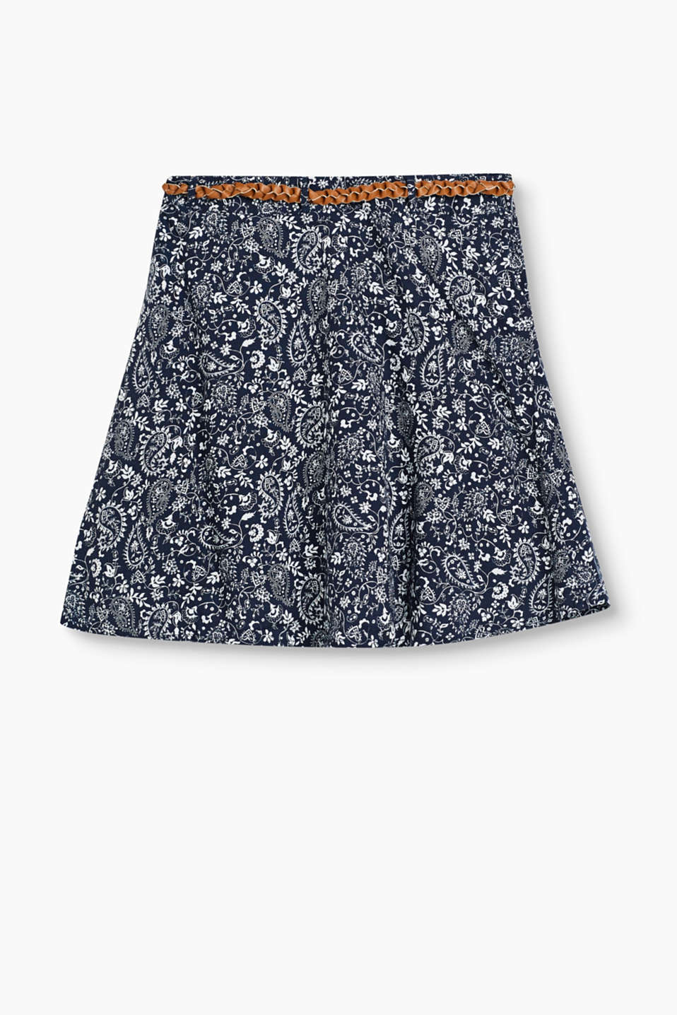 Flared skirt in delicate, skin-friendly fabric with a paisley pattern