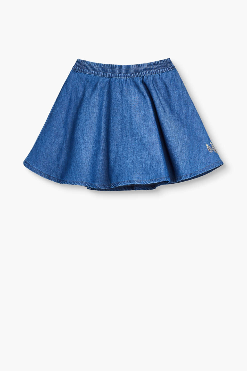 This flared denim skirt made of 100% cotton will liven up the autumn and winter wardrobe for little girls