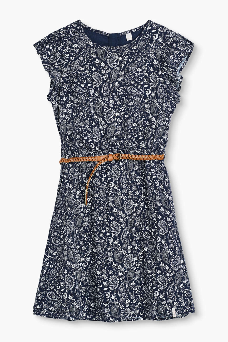 Soft dress with a paisley print, pretty cap sleeves and a faux leather belt