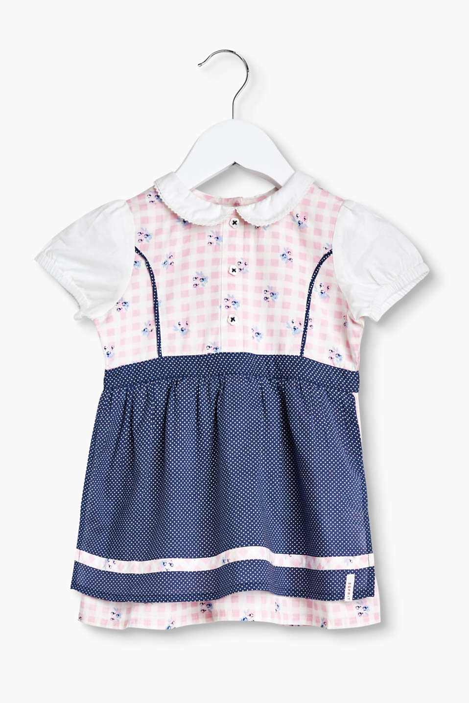 Dirndl with an attached, polka dot apron and a beautiful mixed pattern, 100% cotton