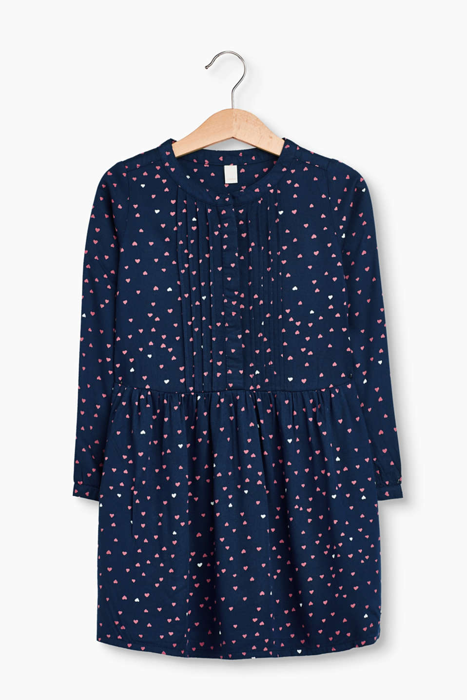 The all-over heart print on this softly flowing dress is a genuine, sweet highlight for little girls