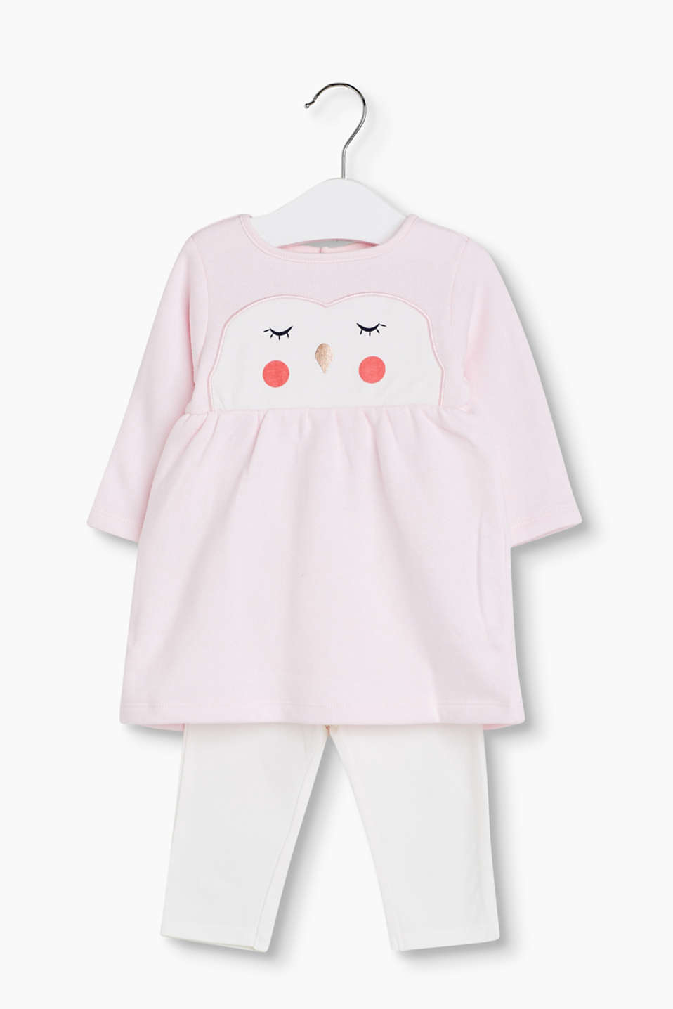 Set: Cute, soft, printed fleece dress with an owl face, made of 100% cotton, and stretch leggings