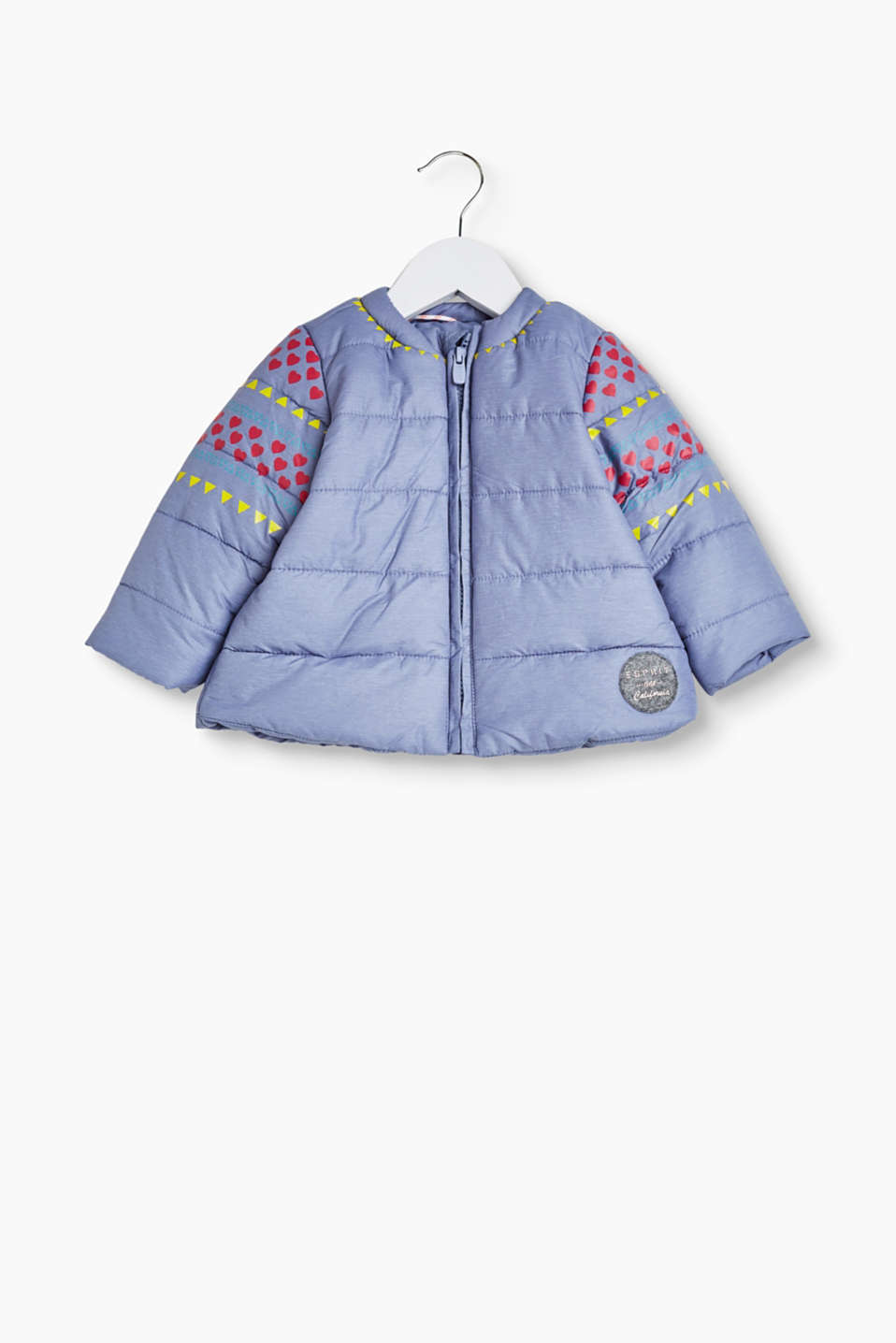 Quilted jacket with pretty printed borders and a felt logo tag