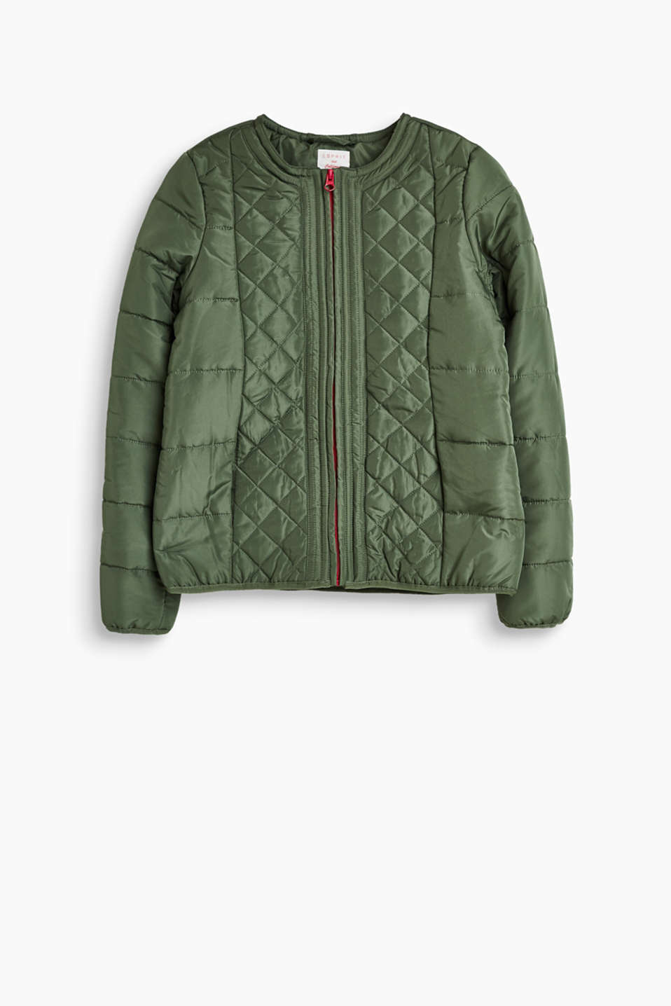Padded jacket with different types of quilting and a colour-contrasting front zip