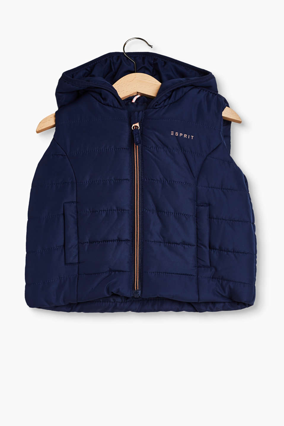 Warmly padded quilted body warmer with a hood and a colour-contrasting zip