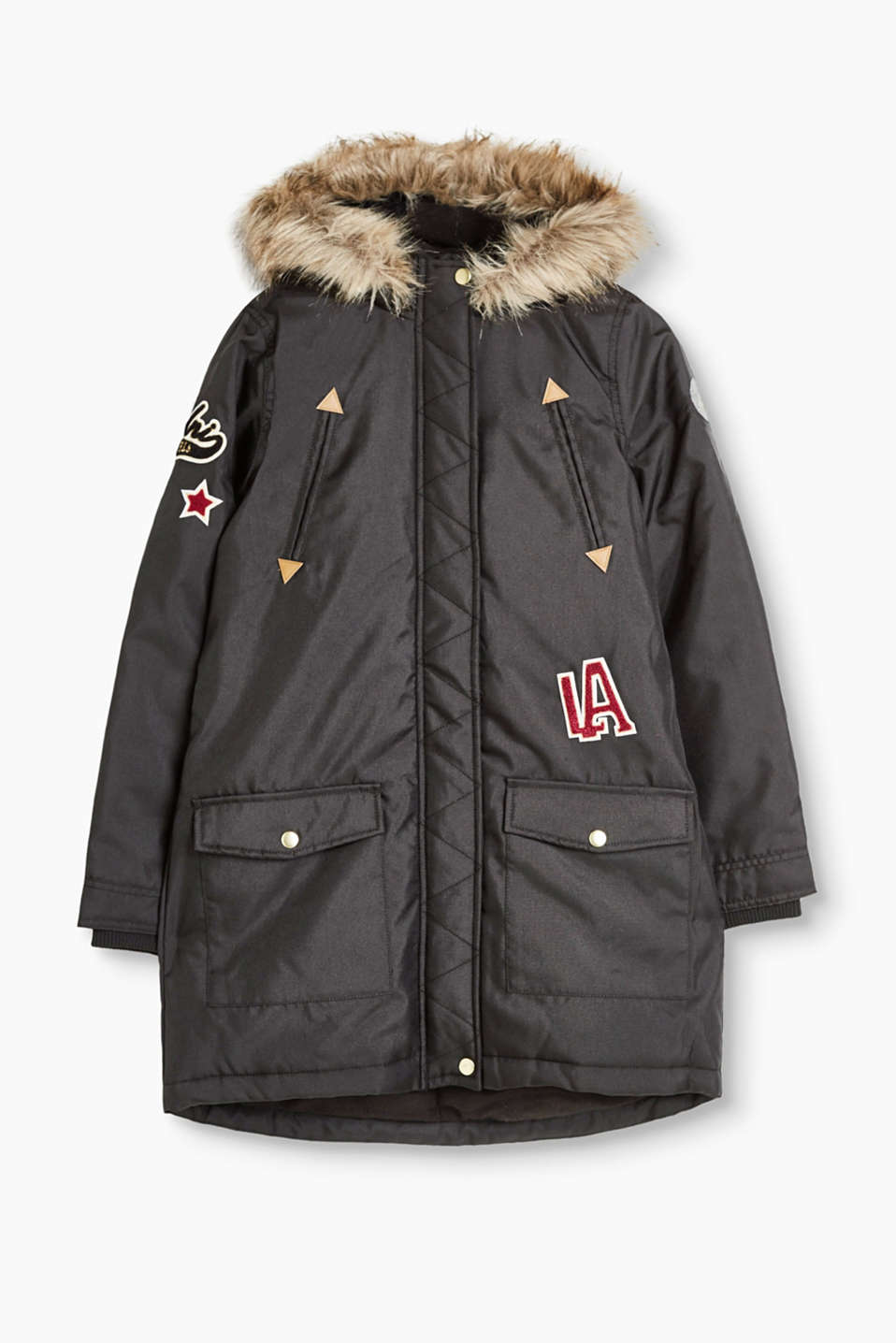 Stylish parka with a 2-way zip, detachable fur hood, colourful appliqués and fleece lining