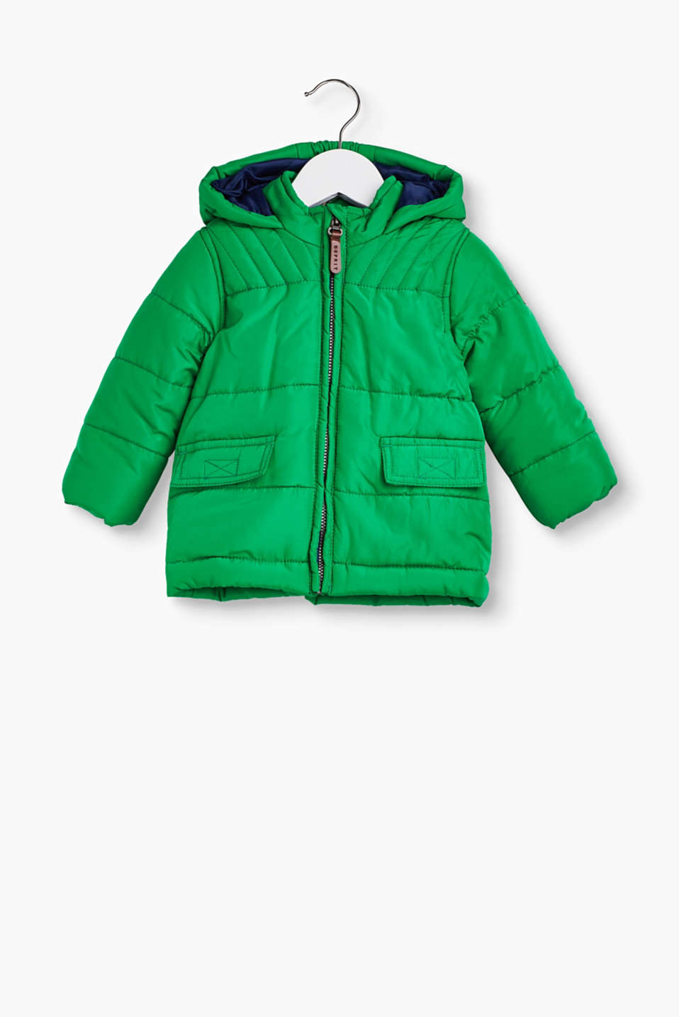 Just the thing for winter: padded parka jacket made of weatherproof polyester fabric.