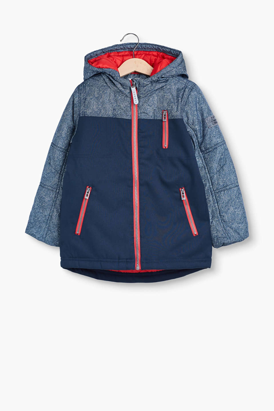 Cool, highly functional piece: padded outdoor jacket with reflective details