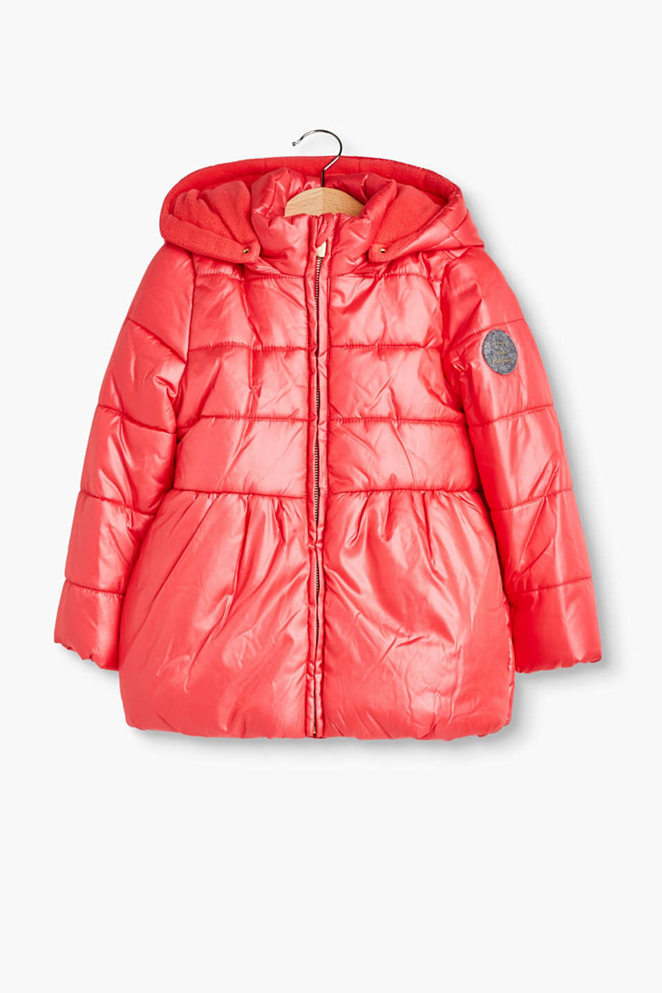 Shiny quilted coat with an adjustable hood and fleece lining