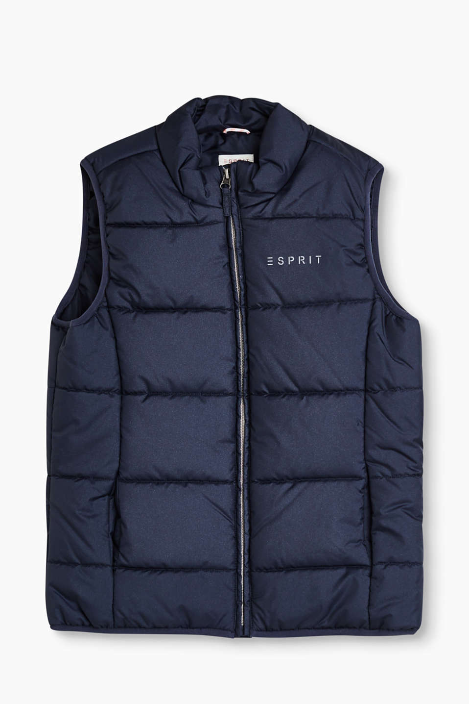 Lightly padded quilted body warmer with a glitter effect and a reflective logo on the chest