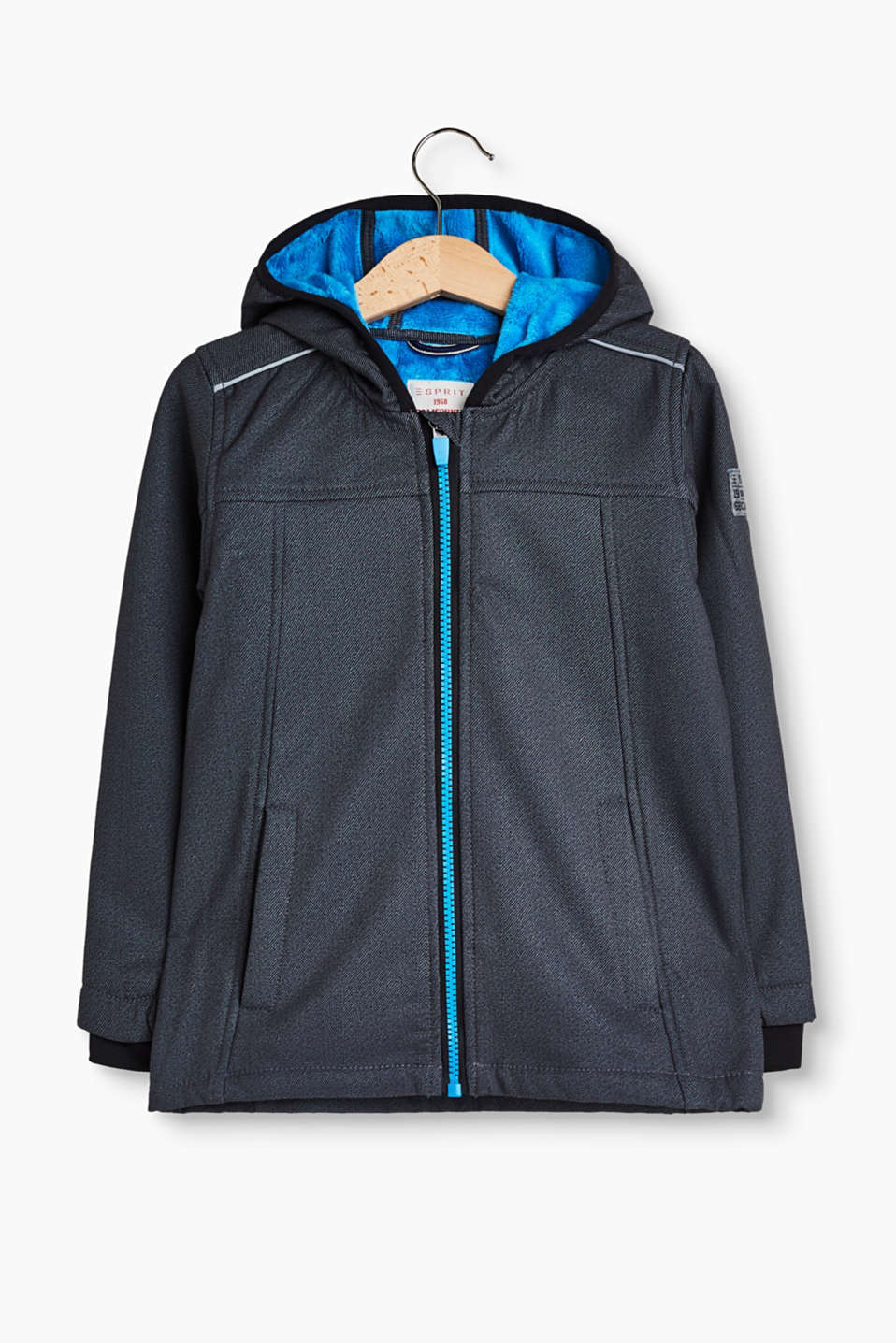 Functional, soft shell jacket with contrasting colour fleece lining