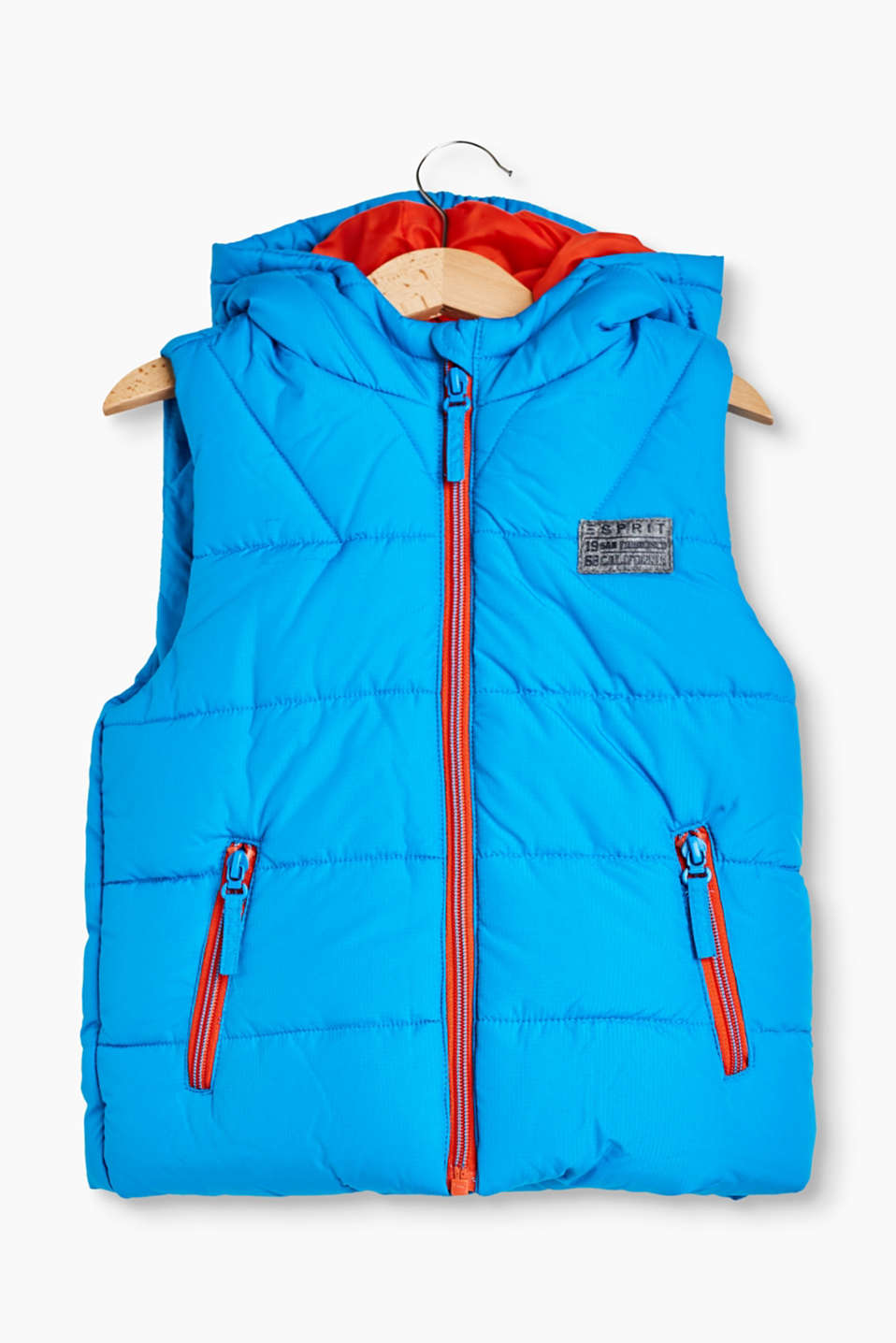 Robust quilted body warmer with colour-contrasting details and warm padding