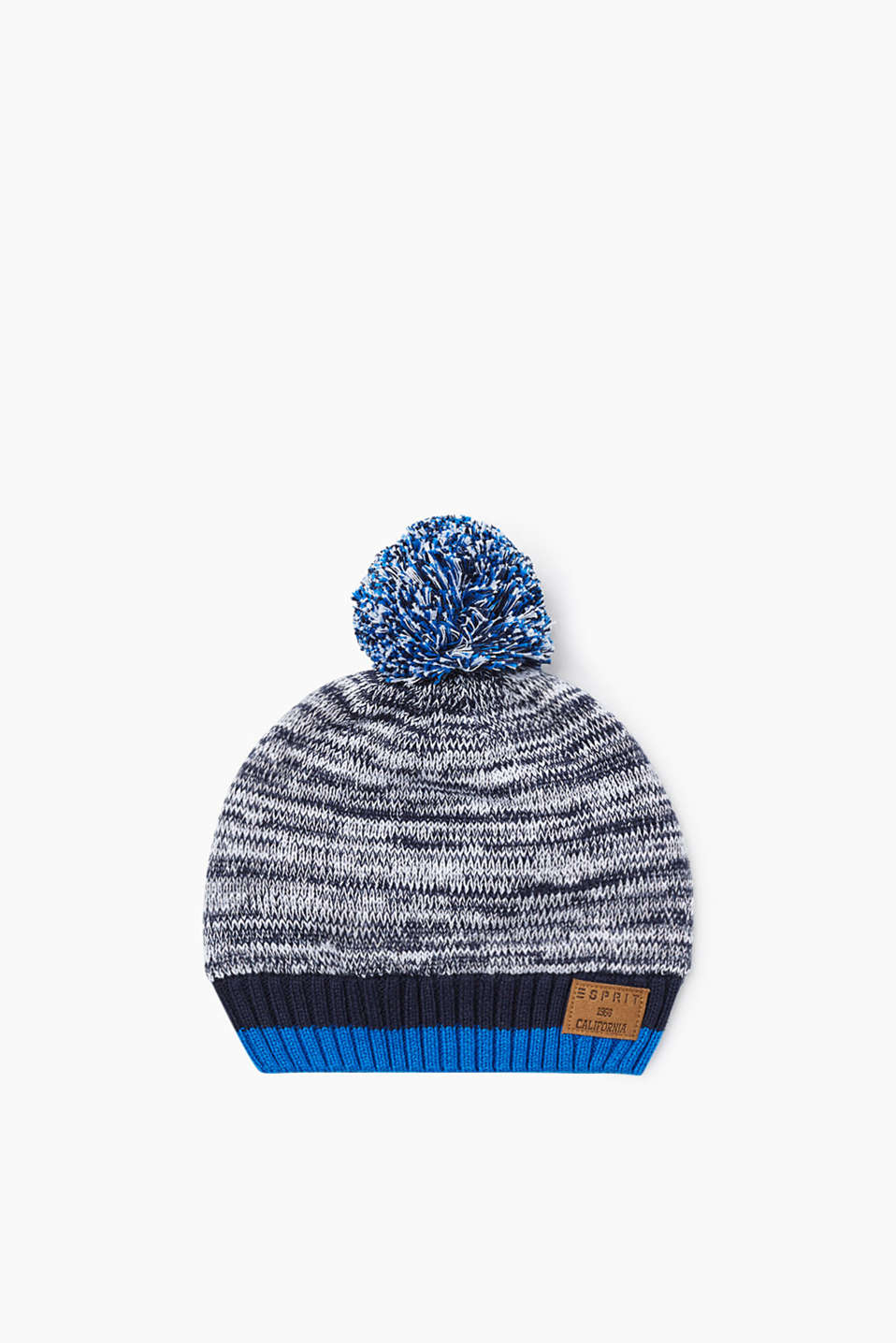Melange cotton hat with a pompom and warm fleece lining