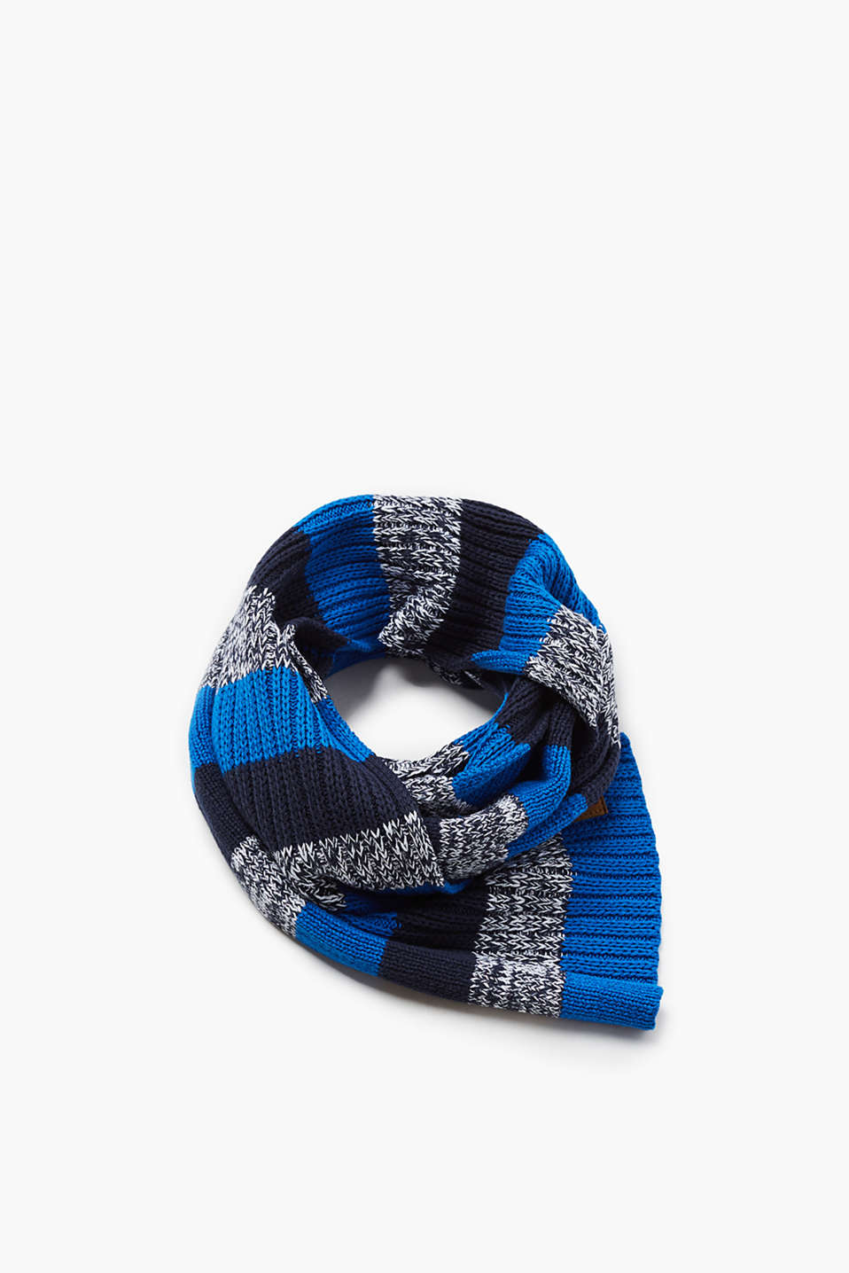 Knit cotton scarf with stripes