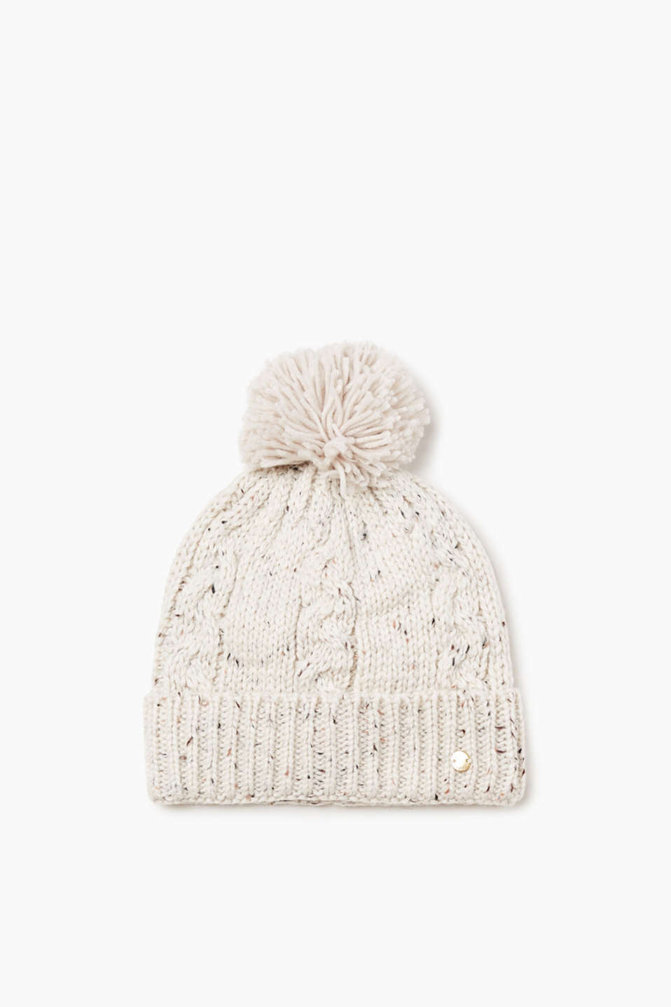 Helps you stay warm and looks really pretty: knitted hat with a cable pattern, fine melange finish and a pompom.