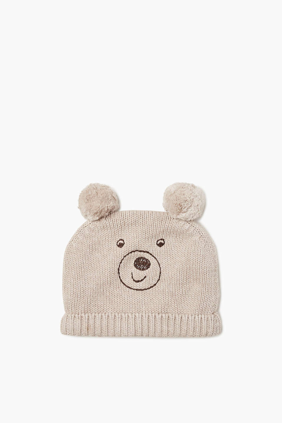 Very cute! Knitted cotton hat with an embroidered bear face, pompom ears and fleece lining.