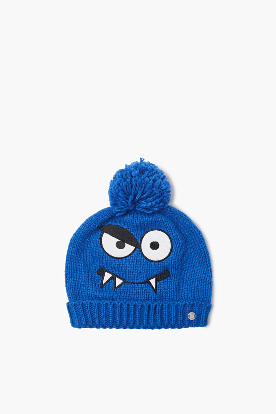 Knitted hat with pompom, appliquéd monster motif and a jersey lining