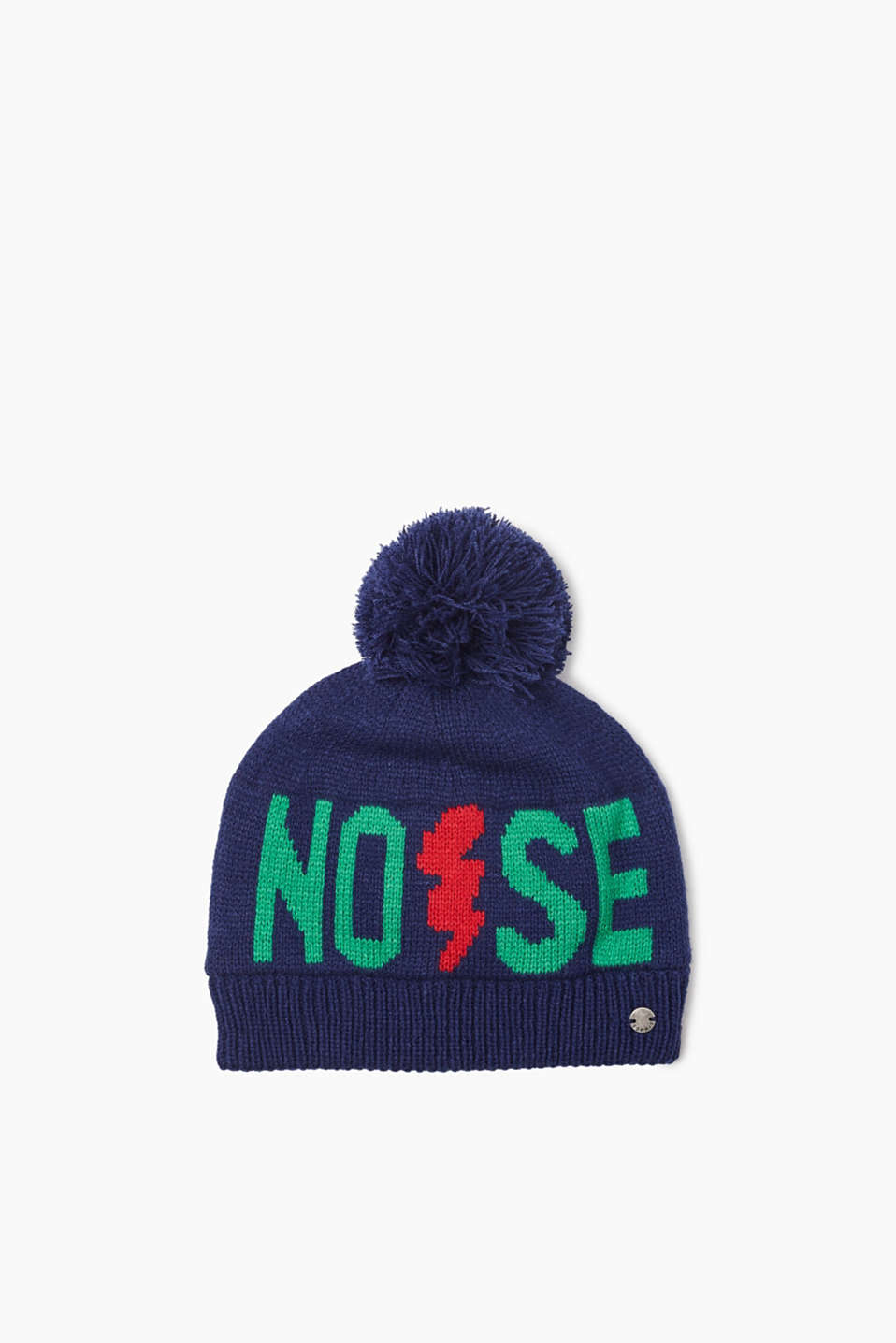 Soft knitted hat with a pompom, knitted statement and a jersey lining