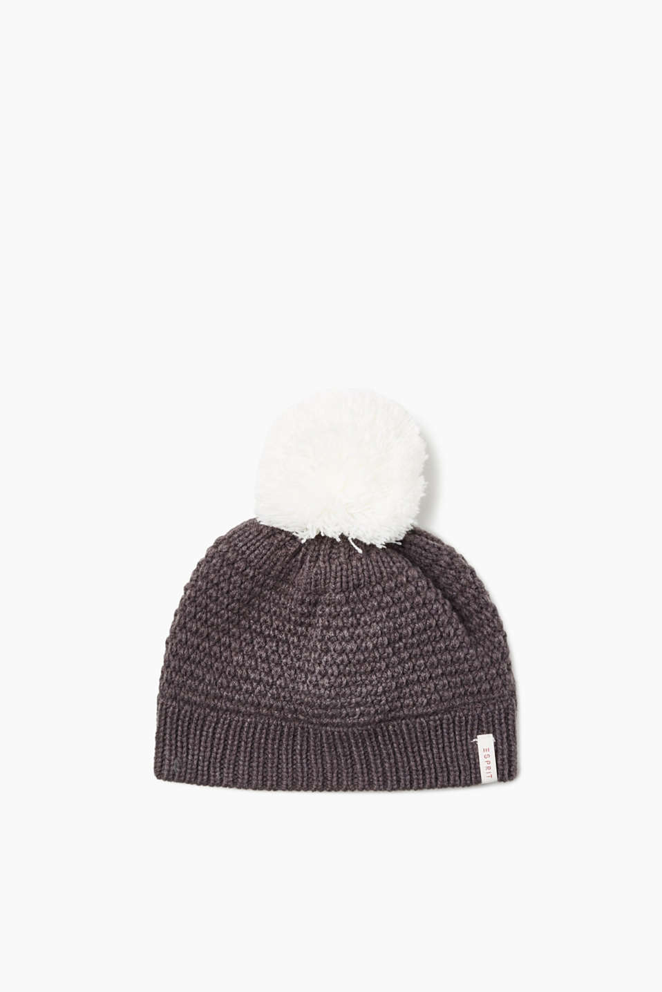 This knit hat with a contrasting colour bobble and soft fleece lining is a heavenly highlight for cold days.