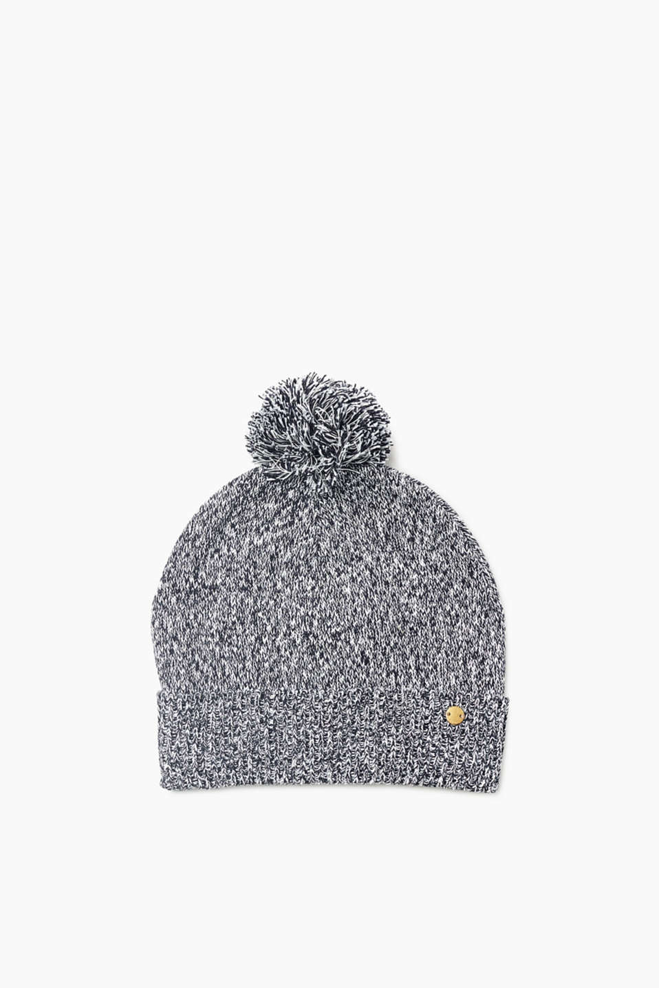 Melange knit hat with a pompom and cosy lining for warm ears and a pretty look