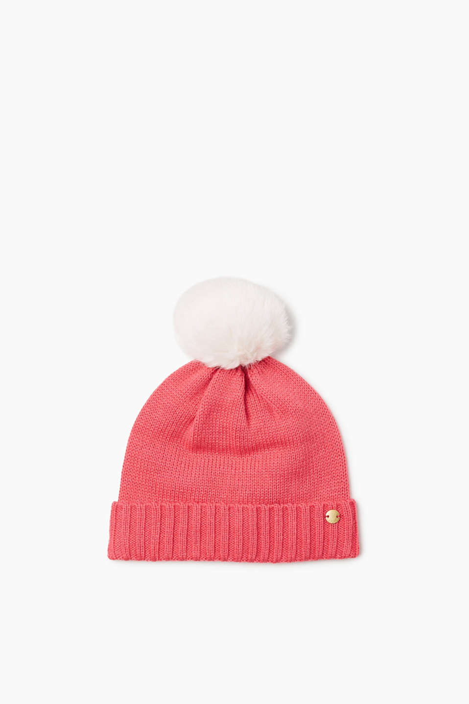 Knitted hat with a fur pompom and a ribbed cuff