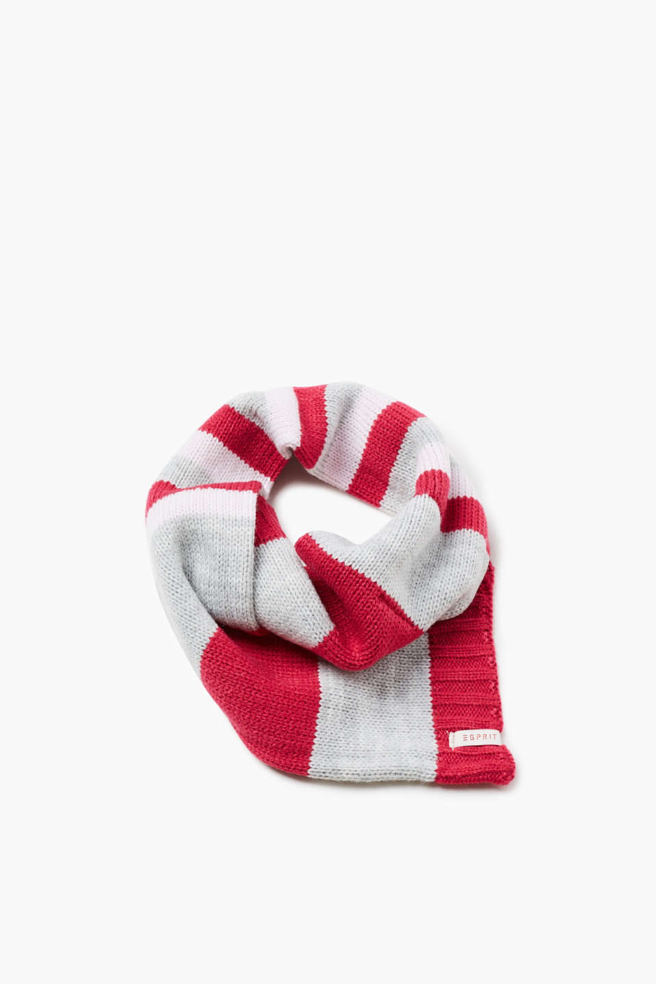 Knit scarf with uneven stripes and ribbed cuffs