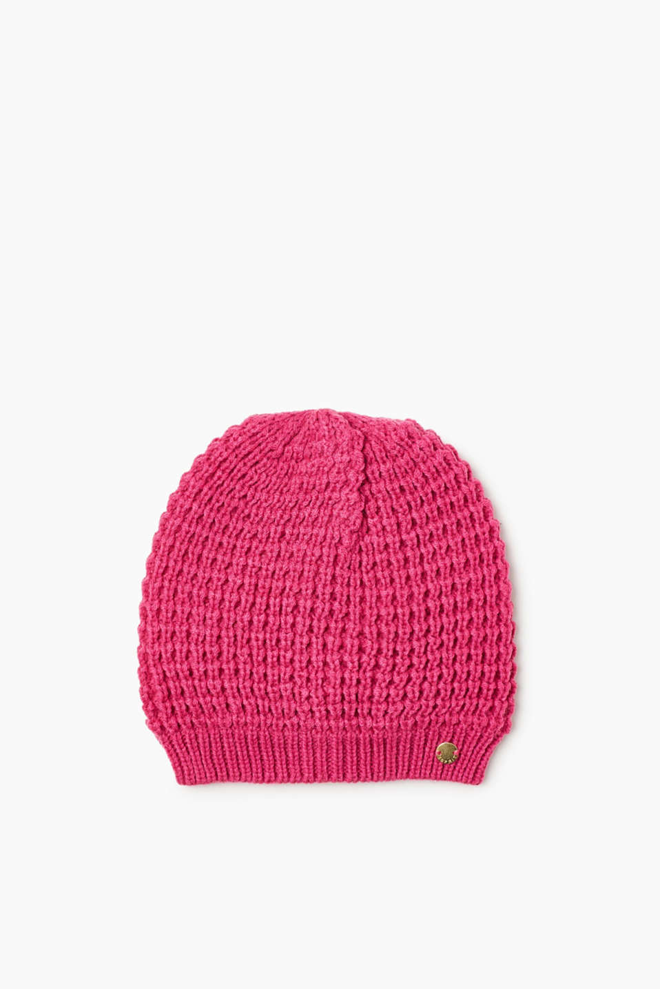 A splash of colour on cold days: chunky-knit beanie with soft, cotton-jersey lining