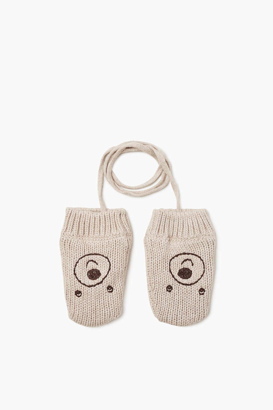 Very cute! Knitted mittens in cotton with an appliquéd little bear face and insulating fleece lining.