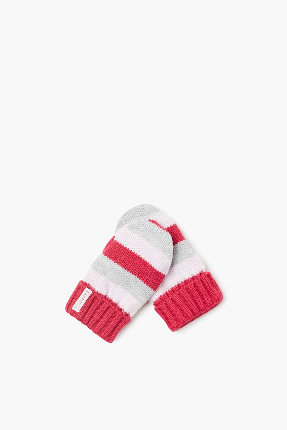 Cheerful striped mittens in a soft knit yarn with a jersey lining