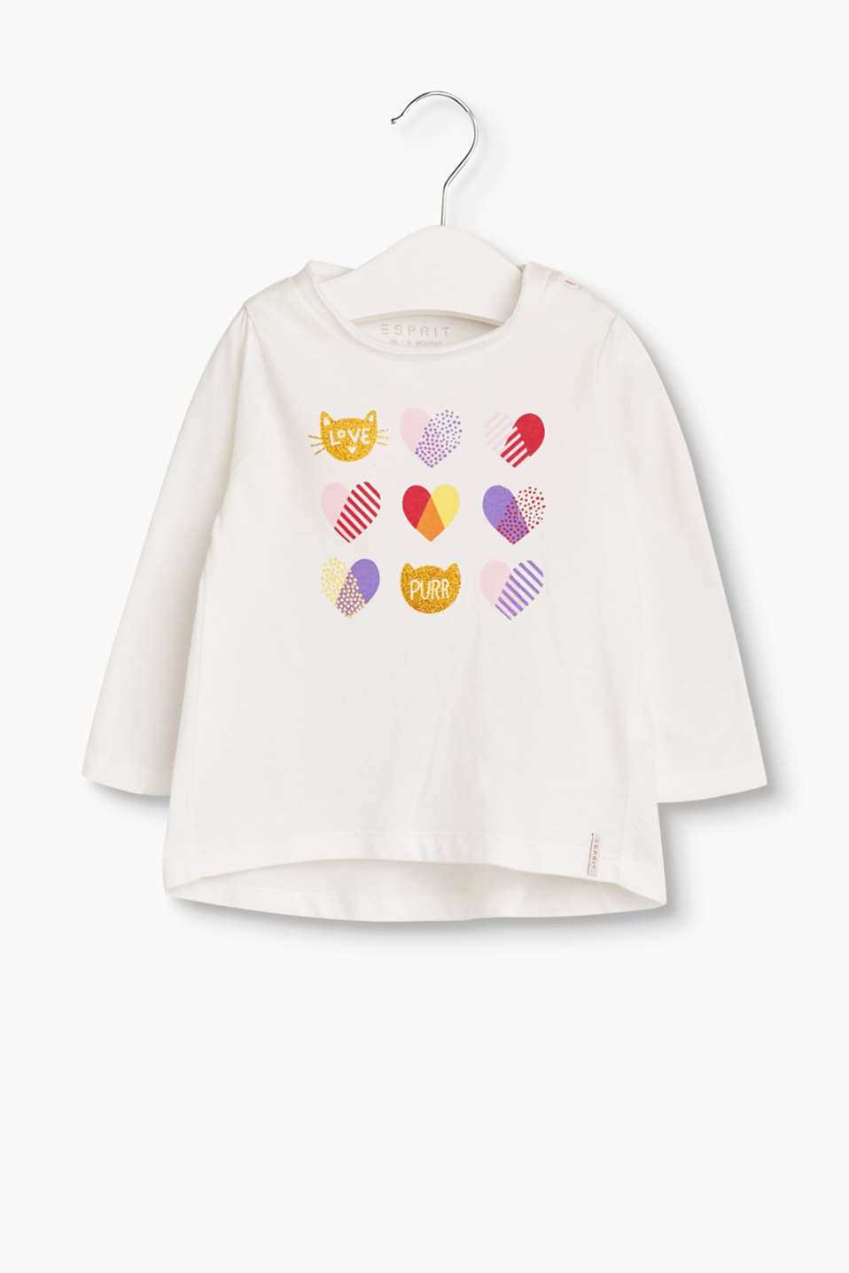 Colourful hearts and glittering cats give this supersoft long sleeve cotton top its sweet look.