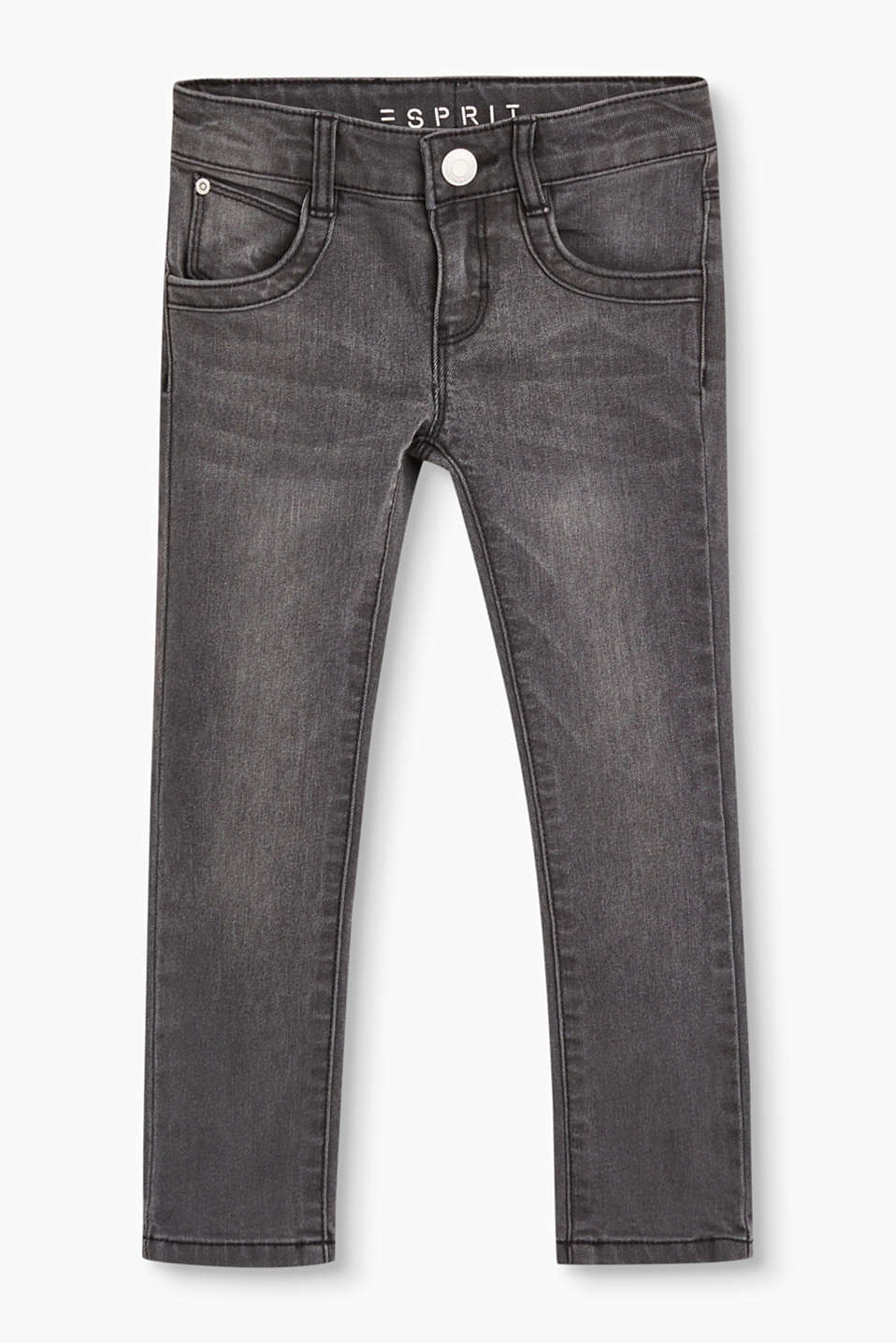 In a cool grey tone: narrow stretch denim jeans with silver piping on the back pockets.