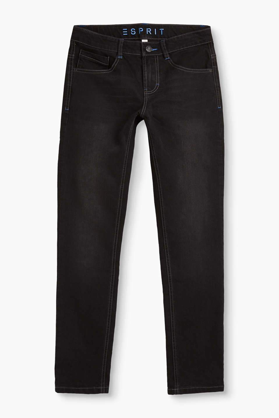 These skinny, black stretch jeans are distinguished by their cool, faded finish and blue stitching.