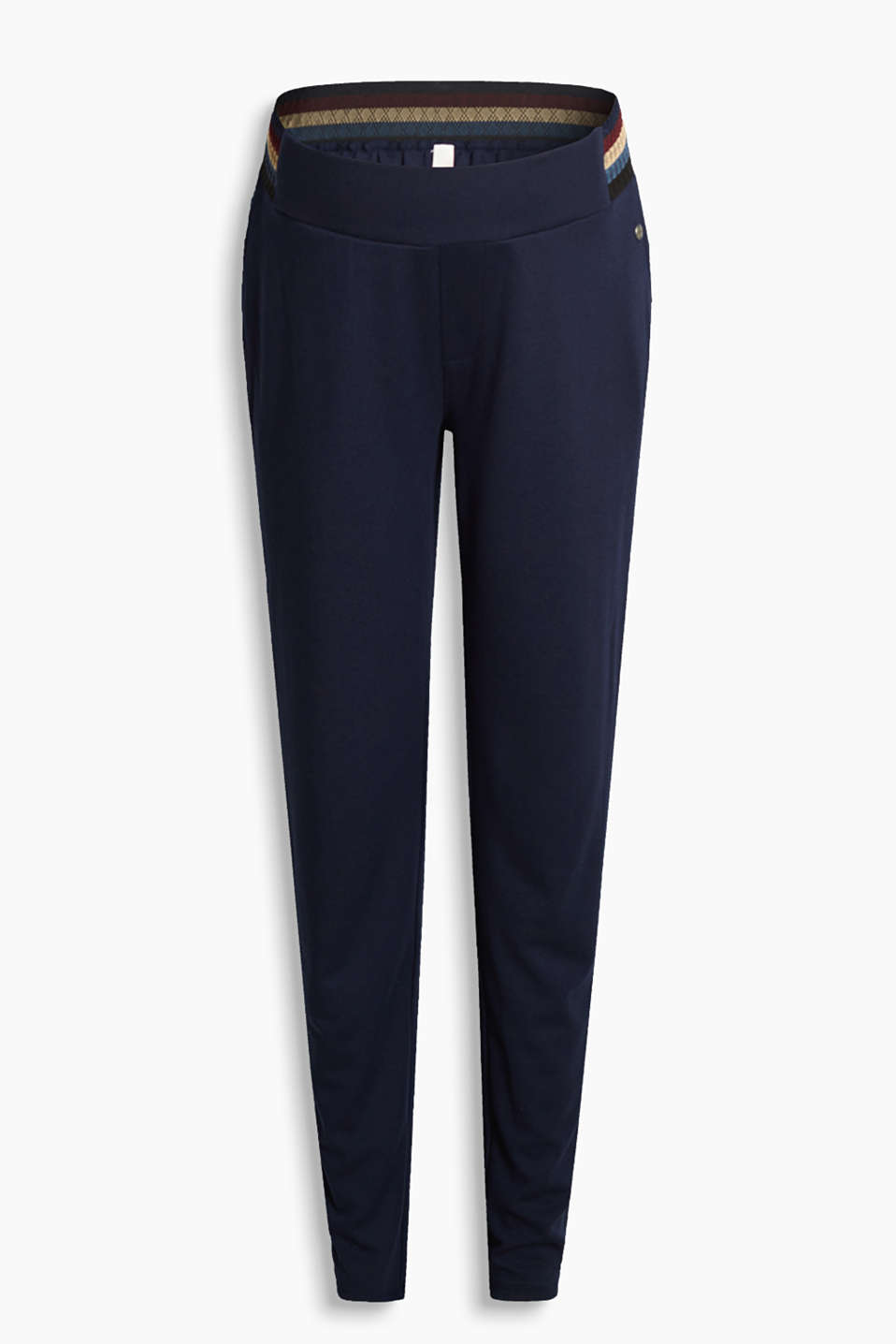 Casual and comfortable stretch jersey trousers with supportive under-bump waistband
