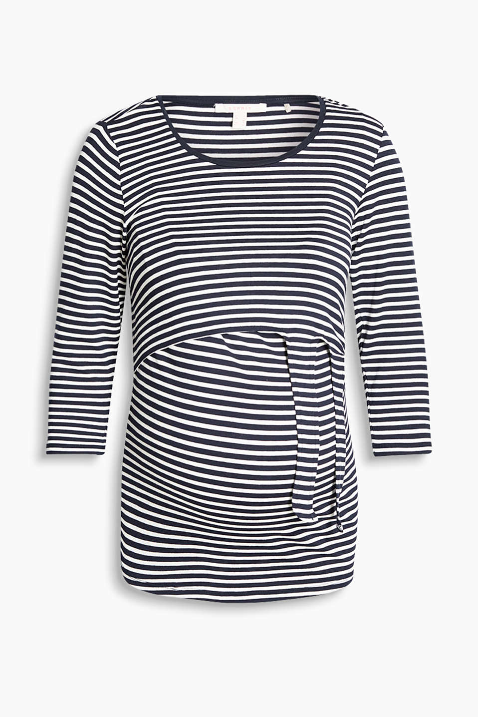 Stretch jersey top with nautical stripes for breastfeeding, in a layered design featuring a knot detail