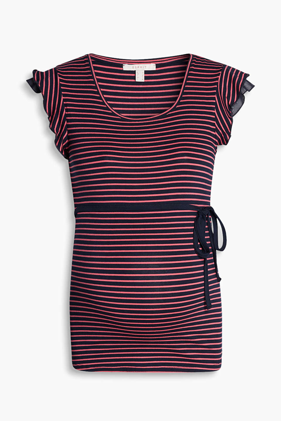 Comfy, stretchy top in fluid jersey with stripes, ruffles and a tie-around belt