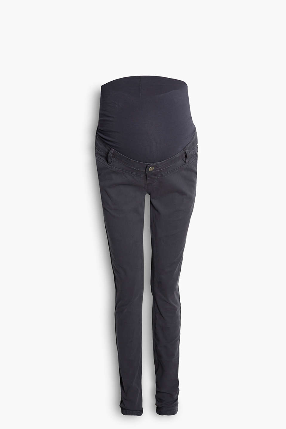 Soft stretch chinos with adjustable over-bump waistband