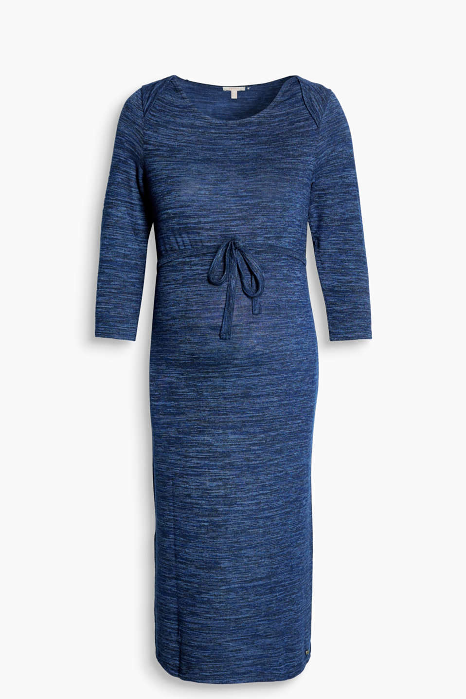 Melange jersey dress with bolero shoulders, a tie-around belt and high hem slits