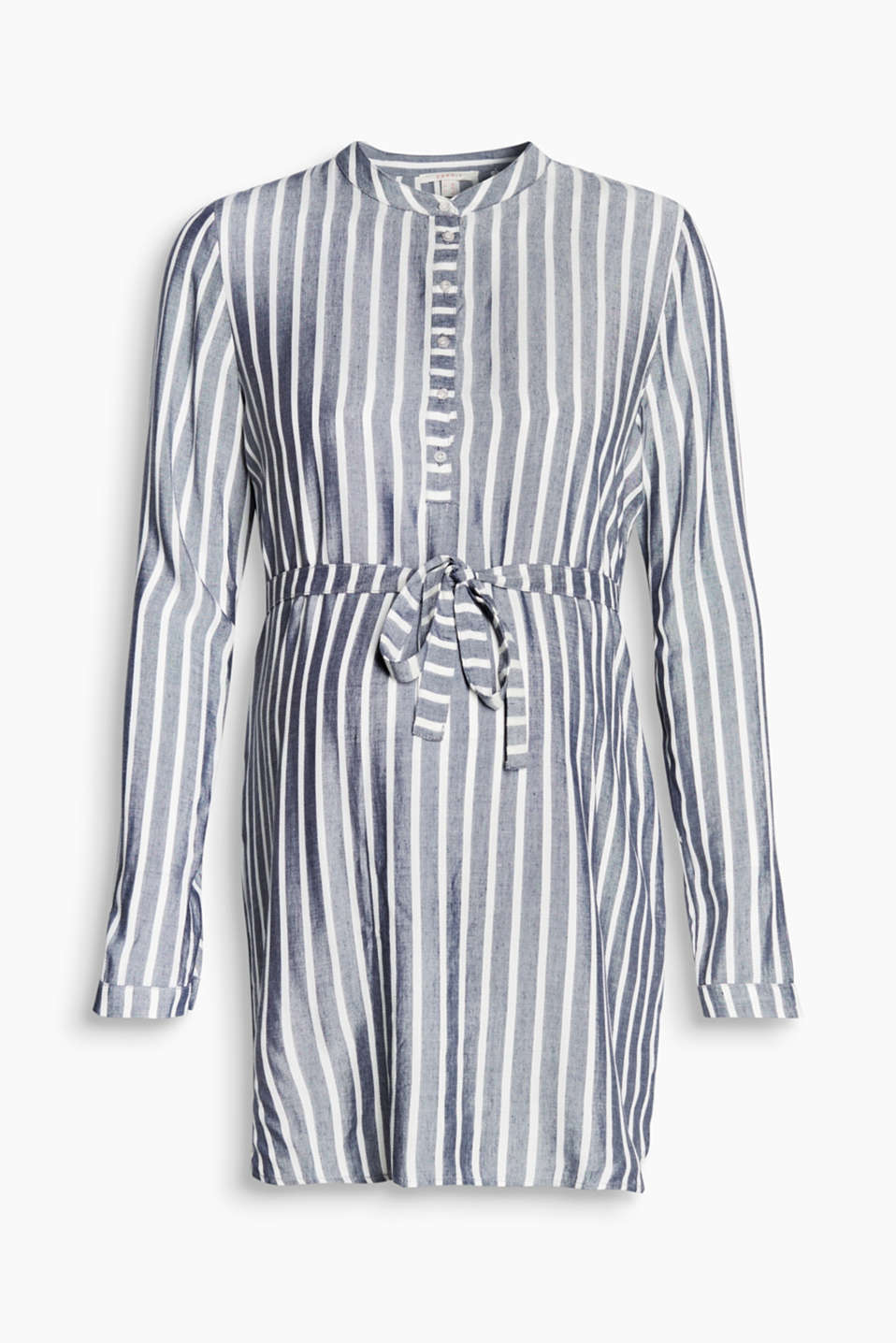 Flowing long blouse with a long button placket, tie-around belt and stylish striped pattern