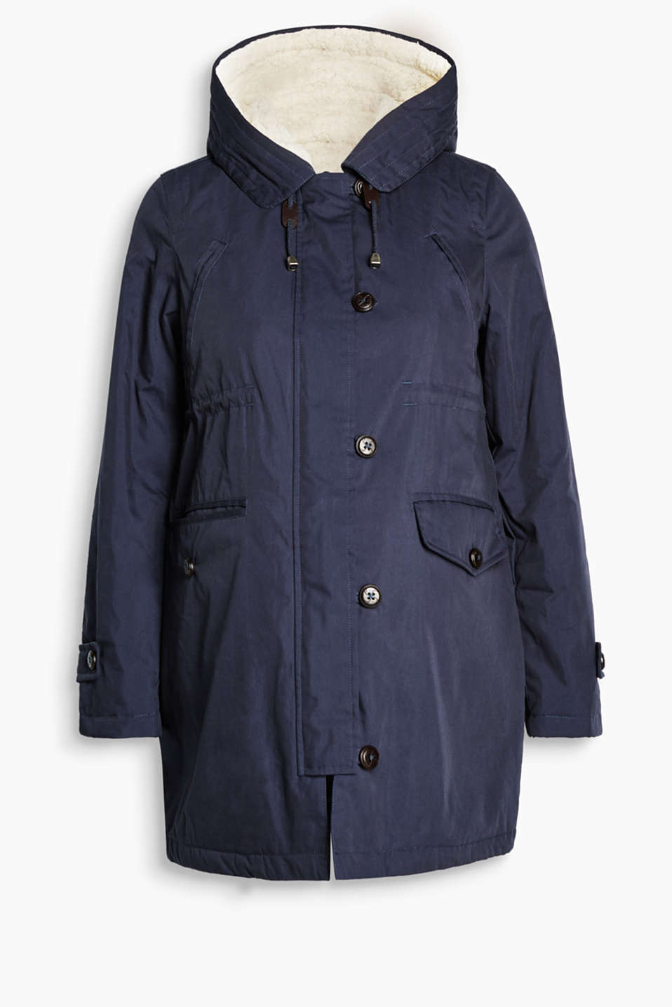 Sporty parka with a plush-lined hood and an adjustable drawstring waist, blended cotton