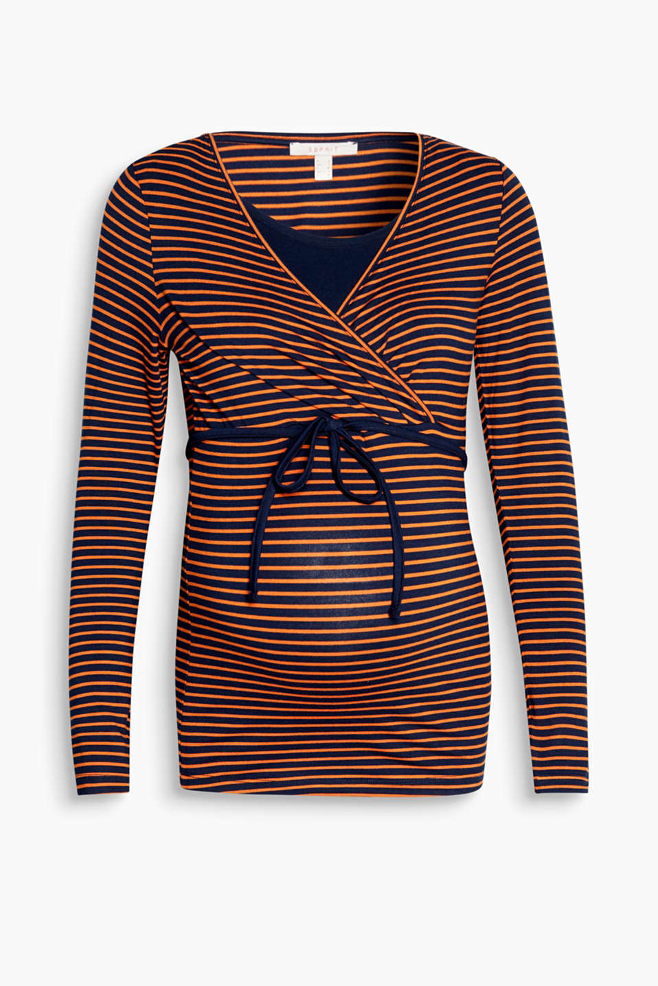 Striped, stretchy long sleeve nursing top
