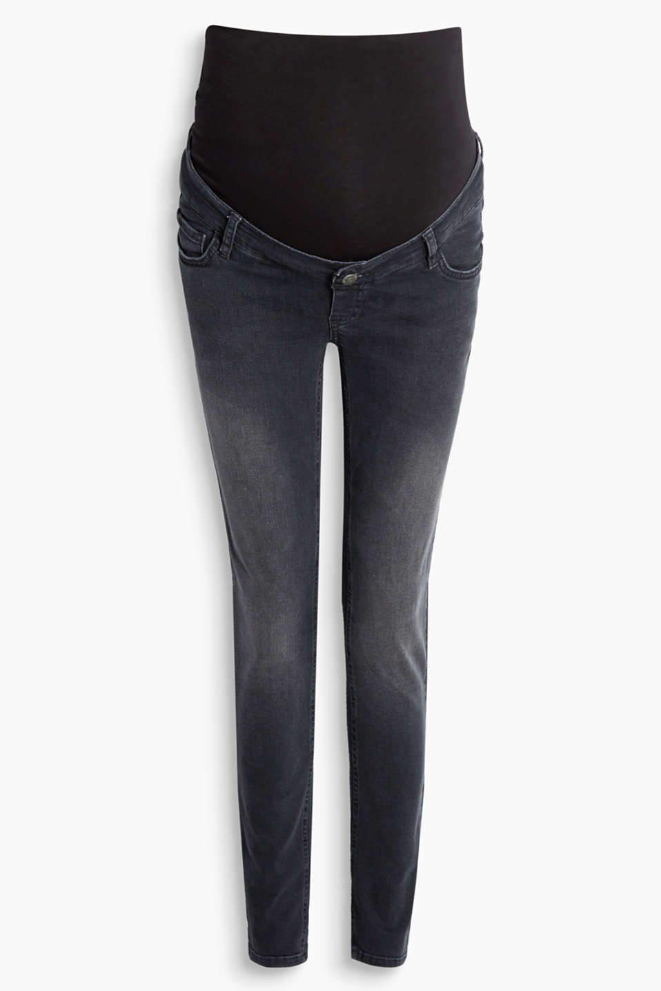 Slim stretch jeans with over-bump waistband