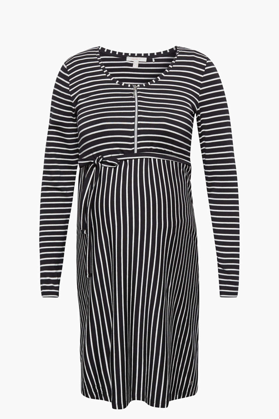 The zip is both trendy and functional on this piece: Stretch jersey nursing dress with a tie-around belt