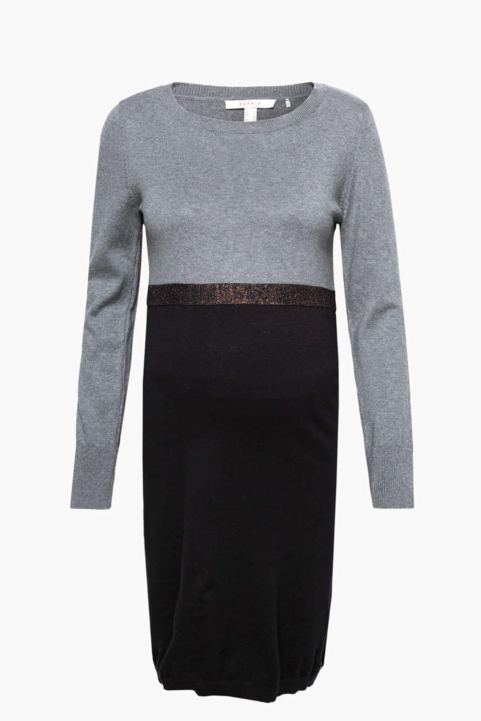 Casual, chic colour blocking: Fine knit dress in pure cotton with a lurex trim