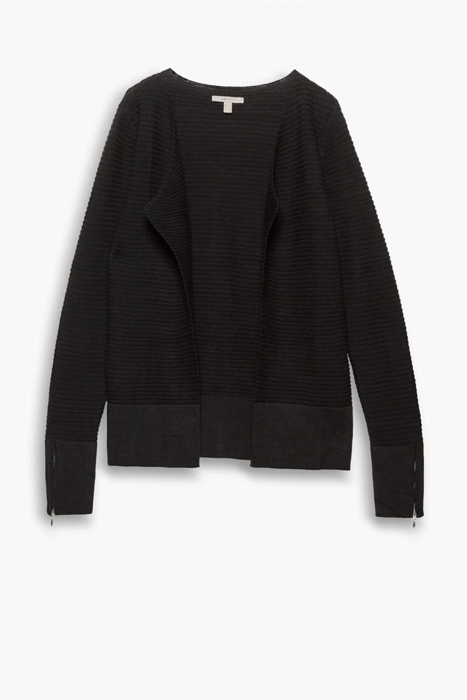 Firm fave both during and after pregnancy: open, ribbed knit cardigan with sleeve zips