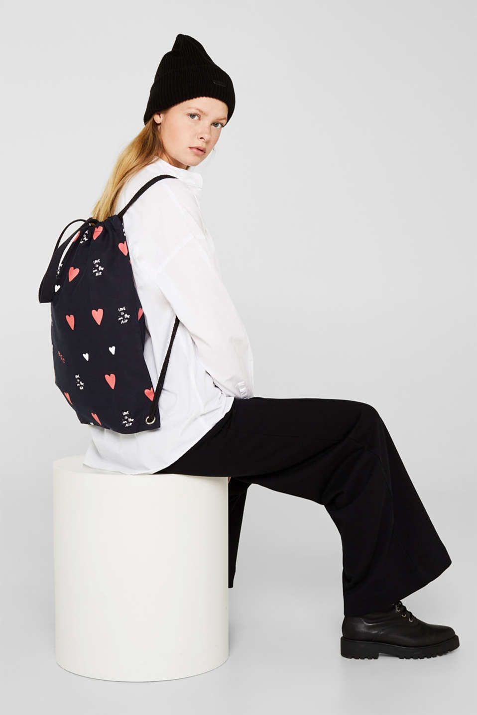 Canvas rucksack made of 100% cotton, NAVY, detail image number 1